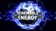 RENEWABLE ENERGY Text Animation and Earth, with Keywords, Loop video