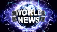 WORLD NEWS Text Animation and Earth, Zoom Camera video