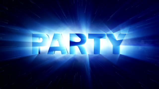 PARTY Text Animation and Lights Rays, Rendering, Background, Loop video