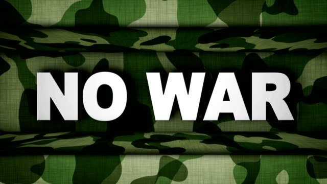 NO WAR Text Animation in Military Door, Rendering, Background, Loop video