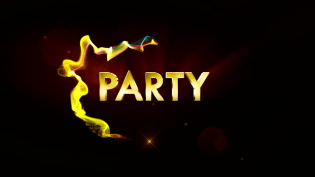 PARTY Text Animation in Particles Ring, Rendering, Background, Loop video