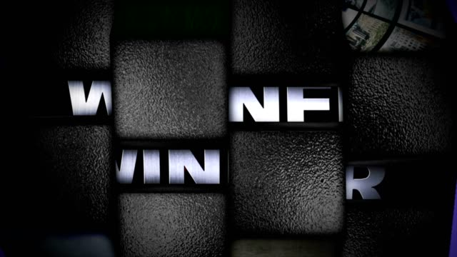 WINNER Text Animation in Slot Machine Combination, Rendering, Background, Loop video