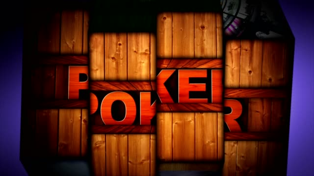 POKER  Text Animation in Slot Machine Combination video