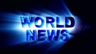 WORLD NEWS Text Animation Lights Rays, Loop video