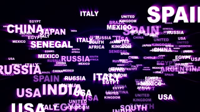 WORLD STATES Text Animation, Rendering, Background, Loop video