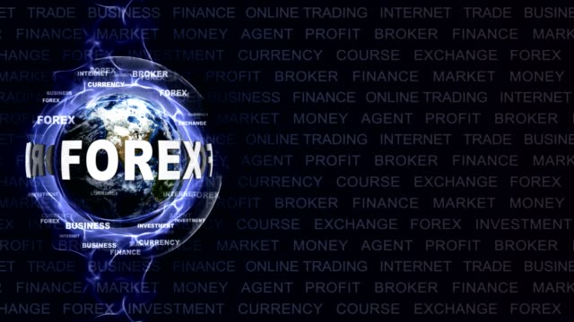 FOREX Text Animation with Keywords and Earth, Rendering, Background, Loop video