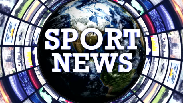 SPORT NEWS Text, Earth and Monitors Tunnel, LOOP, Still Camera video