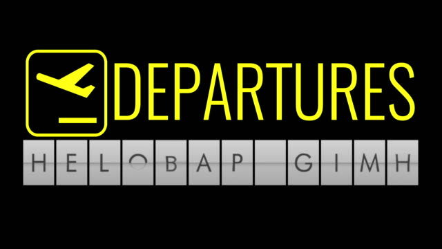 text flip of board of airport billboard with words name holiday time, travel, holiday and relax video