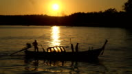 Thai boat ship in evening after sunset video
