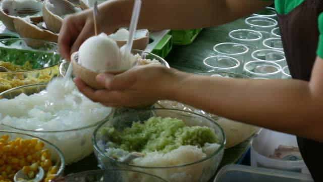 Thai coconut ice cream, Street food in Bangkok video