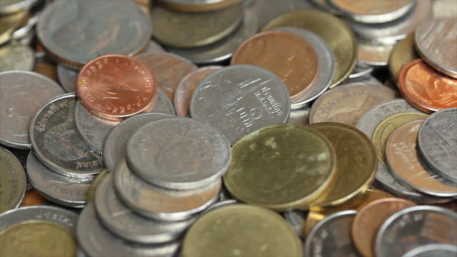 Thai Coin Currency in dolly shot with close up video