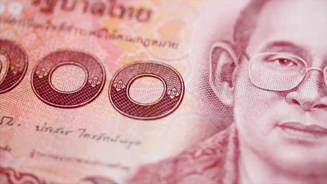 Thai Currency in dolly shot with close up video