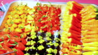 Thai dessert Kano look choup, deletable imitation tropical fruits. Green pea paste stuffed inside jelly skin with colourful paint video