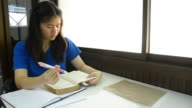 Thai girl student repeat knowledge herself. video