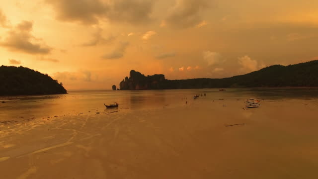 Thai Island at Sunset, Ko Phi-Phi Don, Krabi by Drone video