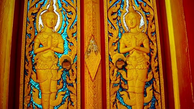 Thai pattern door of Temple in Phuket Thailand video