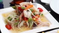 Thai spicy glass noodle seafood salad video