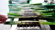 Thai sweetmeat made of flour, coconut and sugar, wrapped in leaves and then grilled. video