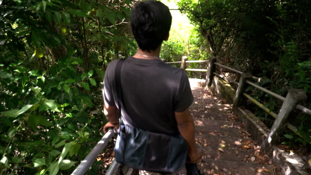 Thai young man walks down on  highly slope ladder in tropical forest video