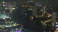 thailand bangkok chao phraya river city roof top panorama flyer view 4k time lapse video