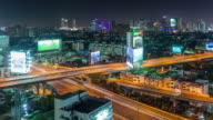thailand bangkok city night traffic street road roof panorama 4k time lapse video