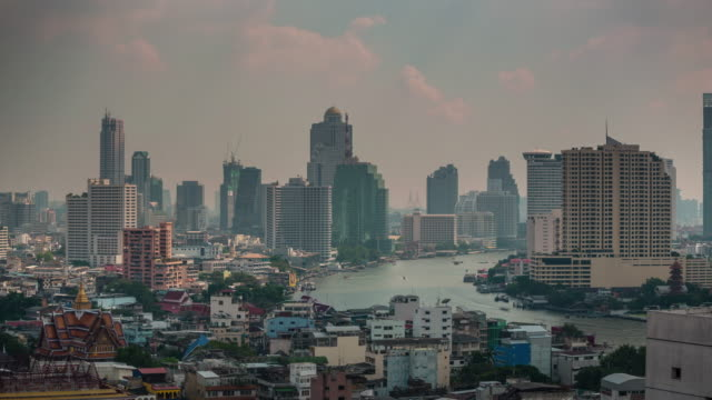 thailand bangkok city river traffic roof top panorama 4k time lapse video