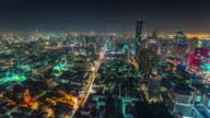 thailand bangkok night light hight roof top city panorama 4k time lapse video