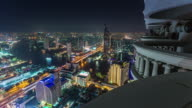 thailand bangkok night light hotel roof top cityscape panorama 4k time lapse video