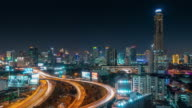thailand bangkok night light traffic road junction panorama 4k time lapse video
