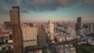 thailand bangkok roof top downtown sunset panorama 4k time lapse video