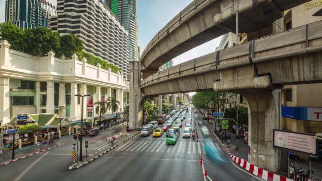 thailand bangkok sunny day city centre traffic road junction 4k time lapse video