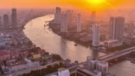 thailand bangkok sunset chao phraya river bay traffic hotel roof top panorama 4k time lapse video