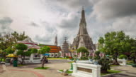 thailand cloudy day tourist crowded wat arun temple panorama 4k time lapse video