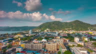 thailand day patong beach town roof top panorama 4k time lapse video