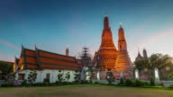 thailand famous wat arun bangkok temple square panorama 4k time lapse video