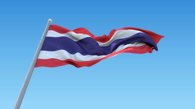 Thailand Flag On Clear Sky , Seamless Loop Animation. video