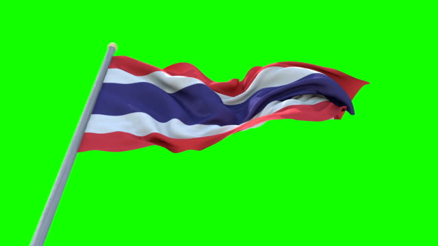 Thailand Flag On Green Screen Background , Seamless Loop Animation. video