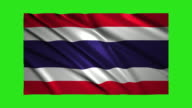Thailand flag waving,loopable on green screen video