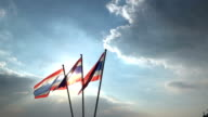 Thailand flage Blowing by the wind on drametic blue sky video