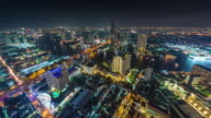 thailand hotel roof top night bangkok river panorama 4k time lapse video