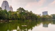 thailand lumpini park day light lake reflection bay panorama 4k time lapse bangkok video