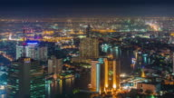 thailand night bangkok city river traffic roof panorama 4k time lapse video