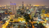 thailand night illumination bangkok famous hotel roof top panorama 4k time lapse video