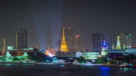 thailand night illumination bangkok river bay temple panorama 4k time lapse video
