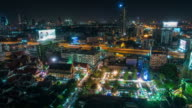 thailand night illumination bangkok street city fairy roof top view 4k time lapse video