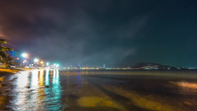 thailand night illumination famous patong beach bay panorama 4k time lapse phuket video