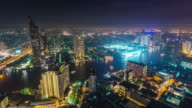 thailand night illumination roof top bangkok bay traffic panorama 4k time lapse video