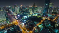 thailand night light bangkok downtown roof top traffic street panorama 4k time lapse video