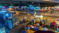 thailand night light traffic road bangkok street market 4k time lapse video