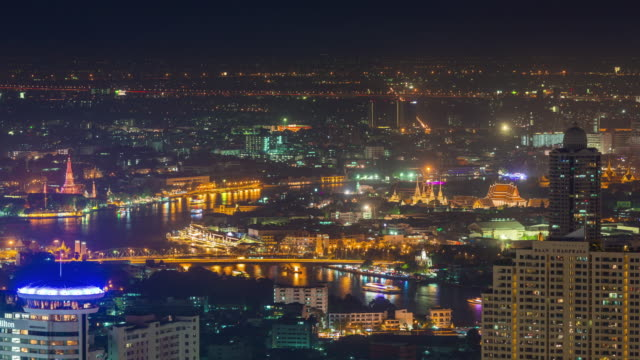 thailand night river famous bangkok main temple roof top panorama 4k time lapse video